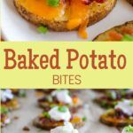 baked potato bites with sour cream, bacon and onion on cookie sheet and pinterest text