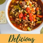 bowl of vegetable beef soup with crackers and bay leaves and pinterest text