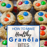 granola bites on cooling rack with pinterest text