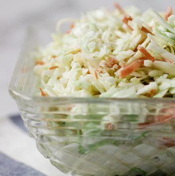 easy creamy coleslaw in bowl
