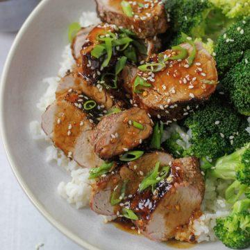 asian pork tenderloin with rice and broccoli