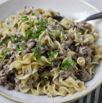 ground beef stroganoff in bowl with spoon and napkin