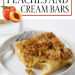 peaches and cream bar on a plate with fork