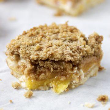 peaches and cream dessert bar on plate