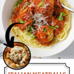 chicken meatballs with marinara and spaghetti in bowl with pinterest text