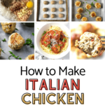 process pictures of how to make Italian Chicken Meatballs with pinterest text