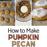 three pictures that show how to make pumpkin pecan cookies