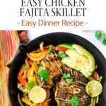 onions and peppers with chicken in skillet to create a fajita dinner with avocado and cilantro