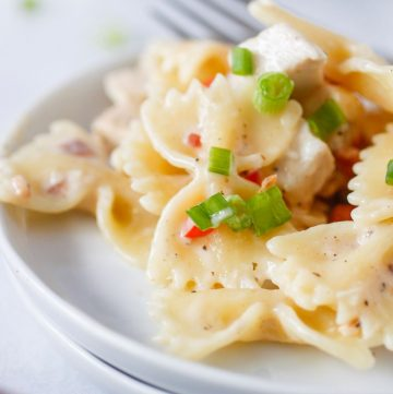 bow-tie pasta in a light cream sauce on two plates with fork