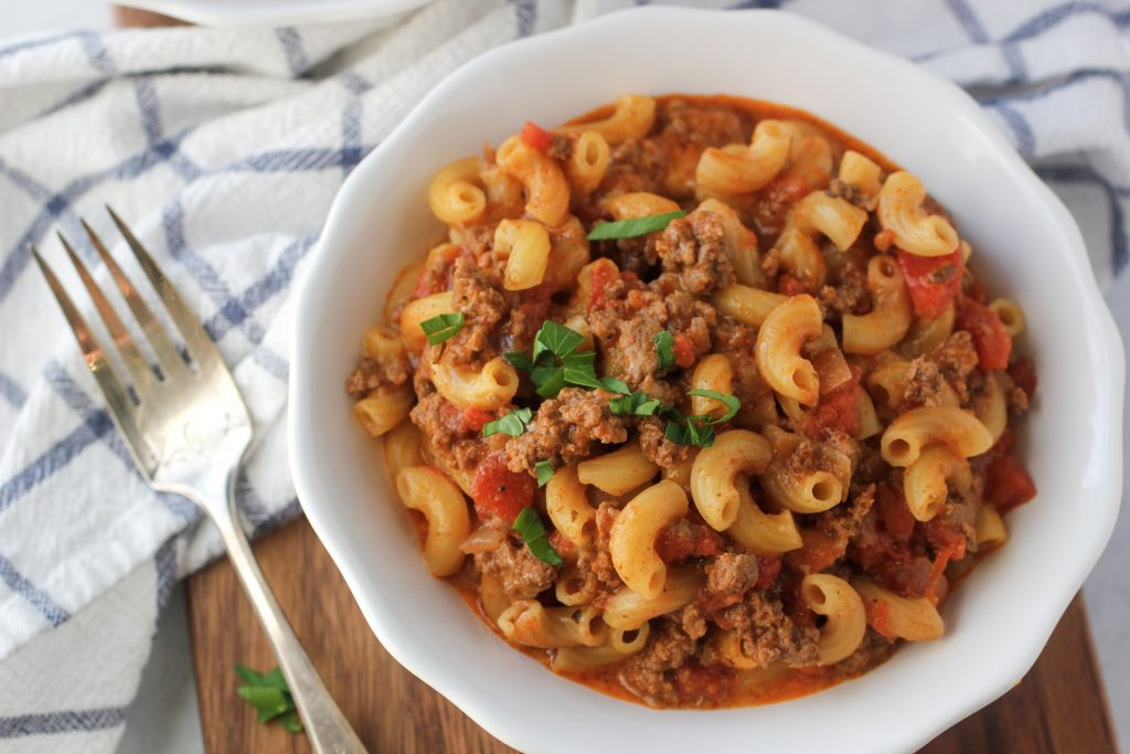 ground beef and noodles in a tomato sauce that make traditional goulash recipe